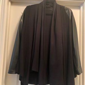 Zara Black Cardigan With Pleather Sleeves